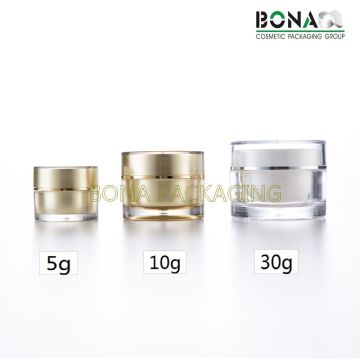 2017 Hot Sale Mini Golden Acrylic Clear Cream Jar for Gift