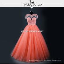 RSE605 manga curta Veneza Laço de alta qualidade baratos vestidos de quinceanera de coral Padrões