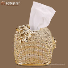 Golden tissue boxes with polyresin material 3D flower decor royal beads decor for sale