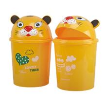 Желтый милый Flip-on пластиковый мусорный ящик (A11-4013)