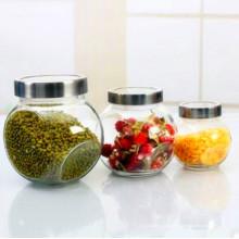 Biscuit en verre à fruits secs à la grille de qualité alimentaire avec couvercle de joint