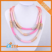 Varied Color Pink Rope Triple Stands Necklace
