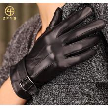 Recién llegan los guantes baratos de la mujer del cuero de la manera con la correa detrás