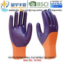13G Polyester Shell Nitril 3/4 beschichtete Handschuhe (N1503) Glatte Oberfläche mit CE, En388, En420, Arbeitshandschuhe