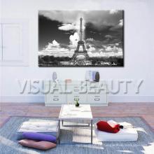 Decoración al por mayor del sitio de cena, arte de la lona de París Torre Eiffel, cuadro blanco y negro