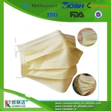 Disposable ISO/CE nonwoven industrial 3 ply face mask elastic yellow
