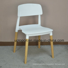 (SP-UC018) Commercial Furniture Backrest Dining Plastic Chair with Wood Leg