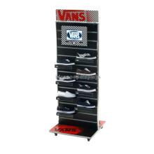 Design livre de feiras publicitárias de madeira auto falante Atacado Oak Slatwall Shoe Display Prateleiras