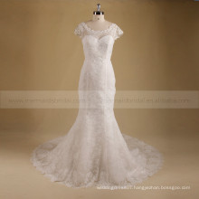 Elegant Scoop Neckline Mermaid Sexy See Through Back Beads & Lace Chapel Train Wedding Dress