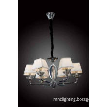 elegant 6L diamond fabric shade chrome metal chandeliers pendant
