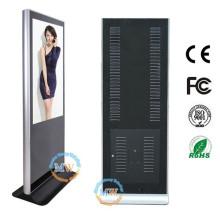 Completo HD 1080p 46 pulgadas piso pie LCD haciendo publicidad del quiosco