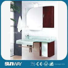 Lavabo moderno del vidrio con el gabinete lateral del PVC Lavabo temperado del cuarto de baño del vidrio