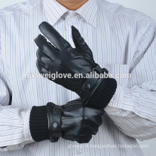 Genuine Black Sheep Leather Men's Gloves with Knitted Cuff & Strap