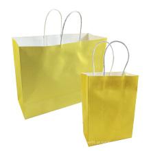 Saco de Kraft do presente do festival saco de papel reciclável amarelo brilhante dos sacos de compras DIY com punhos