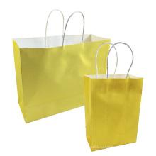 Фестиваль подарков крафт-мешок ярко-желтые сумки для покупок DIY перерабатываемый бумажный мешок с ручками