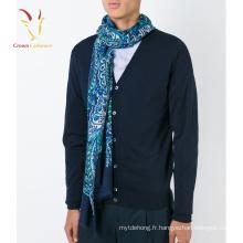 Fleur de mode imprimé 100% écharpe de tête de cou de cachemire pour les hommes
