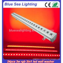 Professionnel 24x3w rgb 3in1 IP65 extérieur conduit lumières mur laveuse
