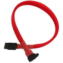 Red Sleeved 7pin Right Angle to Straight SATA Cable