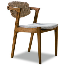 Outdoor Wooden Solid Rattan Patio Dining Chair