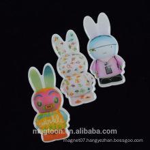 2015 best selling lovely carton rabbit design epoxy fridge magnet