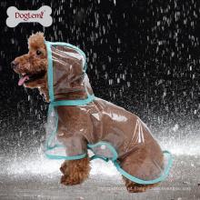 A roupa impermeável por atacado do cão veste a capa de chuva transparente do cão de EVA para o cão de filhote de cachorro
