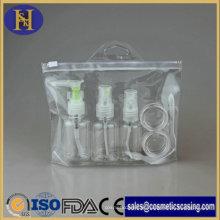 Viagens Kit usar garrafa Pet cosméticos conjunto com saco do PVC