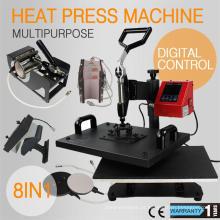 Nova condição usado usado máquina de pressão de calor 8 em 1, prensa de calor combo digital