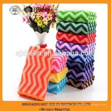 barato personalizado impresso onda colorida listra toalha de microfibra padrão
