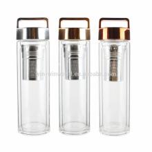 Recién llegado de regalo de Navidad BPA libre de boca ancha té de hojas sueltas y infusor de fruta botella de vidrio doble con filtro