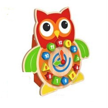 New Fashion 2 in 1 Function Wooden Block Clock Toy for Kids and Children