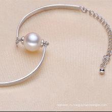 925sterling Серебряный модный браслет с одной натуральной жемчужиной (E150035)