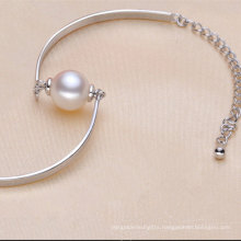 925sterling Silver Fashionable Bracelet with One Natural Pearl (E150035)