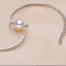 925sterling Pulseira elegante em prata com uma pérola natural (E150035)