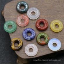 Crystal Agate Semi-Precious Stone Bagel Colorful Nostalgic Circle Jewelry Accessories Bulk Beads