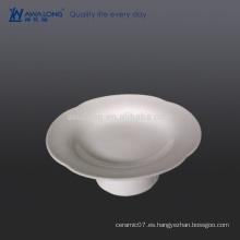 Placa profunda de la impresión de la forma de la flor de 6 pulgadas, placa de la porcelana para la fruta