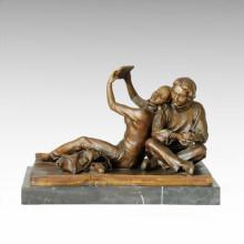 Estatua oriental Madre-Daugther Relajarse Escultura de bronce Tple-032