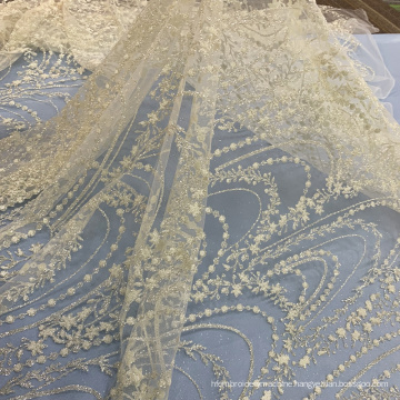 Off White Chemical Glitter Lace Mesh Fabric