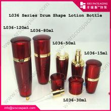 Professional Cosmetic Company Acrílico Drum Forma De Oro Rojo Contenedor Y 100ml Botella De Plástico