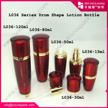 Professional Cosmetic Company Acrylic Drum Shape Red Gold Container And 100ml Plastic Bottle