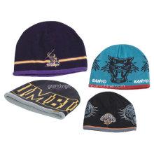 100% Acrylic Beanie Hat with Jacquard Logos