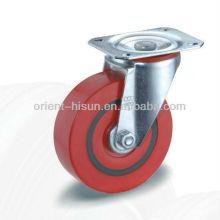 100mm czerwona PU kanapkę elastyczne gumowe obrotowe kółka koła