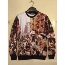 Construção & impressão da cena da rua jaqueta de moleton bordada com capuz Camisa de Hip Hop