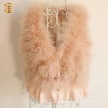 Genuine Turkey Feather Fur Vest Nova Estilo Design Fashion Girls Vest