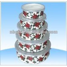 recipiente de hielo esmaltado con tapas de PE y recipiente de mezcla de esmalte metel