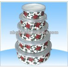 tigela de gelo de esmalte com tampas PE e metel esmalte tigela