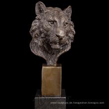 Designer Wohnkultur Metall Handwerk Bronze Tiger Kopf Skulptur