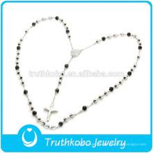 ТКБ-N0006 Розария бисера&католический крест ювелирные изделия черный&Щепка два тона высокое качество из нержавеющей стали ожерелье