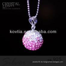 Neueste Entwurfskugelform rosafarbener Kristall und 925 silberne Anhänger