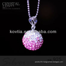 Newest design ball shape pink crystal and 925 silver pendants