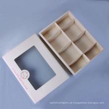 Caixa impressa personalizada com janela para meias de bebê